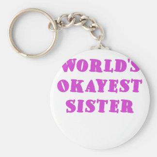 Hermana de Okayest de los mundos Llavero Redondo Tipo Pin