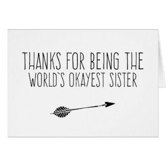 Hermana de Okayest del mundo divertido Tarjeta De Felicitación