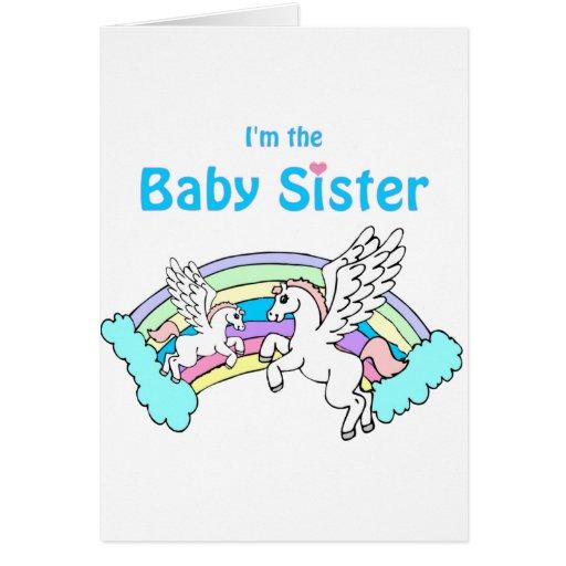 hermana del bebé del unicornio tarjeta de felicitación