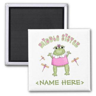 Hermana del centro de Froggie Imán Cuadrado