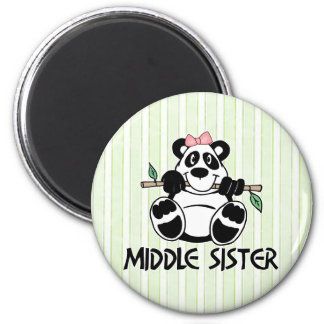 Hermana del centro del chica de la panda imán redondo 5 cm