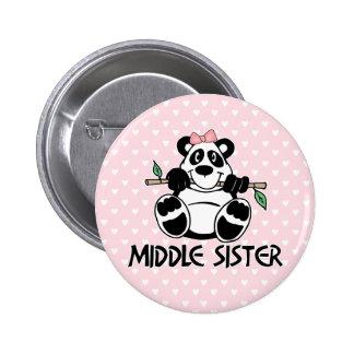 Hermana del centro del chica de la panda pin redondo de 2 pulgadas