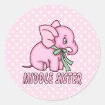 Hermana del centro del juguete del elefante etiquetas redondas