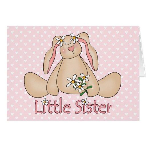 Hermana del conejito de la margarita pequeña tarjeta pequeña