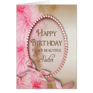 Hermana del cumpleaños - perlas rosadas - floral tarjeta de felicitación