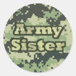 Hermana del ejército pegatina redonda