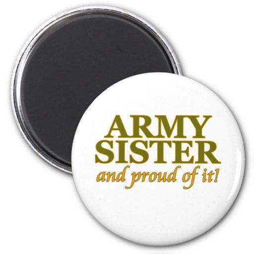Hermana del ejército y orgulloso de él imán redondo 5 cm
