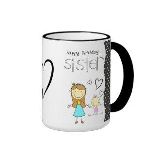 Hermana del feliz cumpleaños taza de café