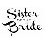 Hermana del negro de la novia en blanco postal
