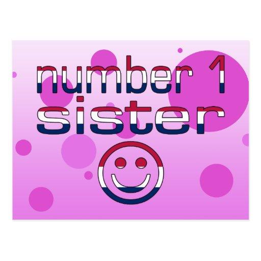 Hermana del número 1 en colores de la bandera tarjetas postales