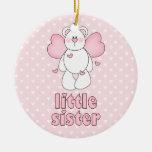 Hermana del oso del ángel pequeña adorno de navidad