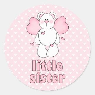 Hermana del oso del ángel pequeña pegatina redonda