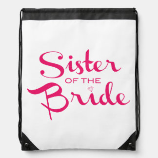 Hermana del rosa de la novia en blanco mochilas