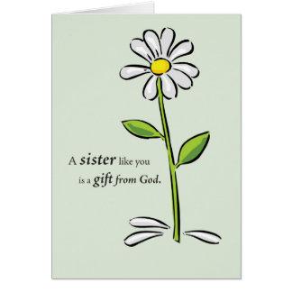 Hermana, el día de madre, margarita verde tarjeta de felicitación