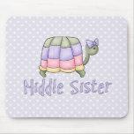 Hermana en colores pastel del centro de la tortuga alfombrilla de raton
