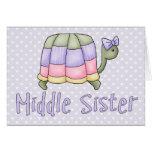 Hermana en colores pastel del centro de la tortuga tarjeton
