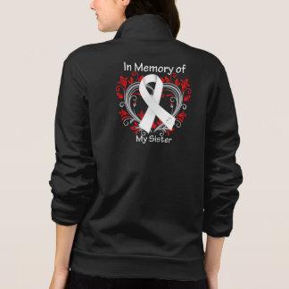 Hermana - en corazón del cáncer de pulmón de la sudadera imprimida con cremallera