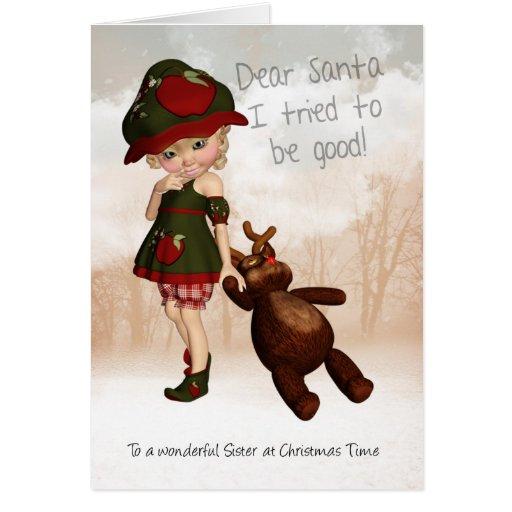 Hermana, estimada tarjeta de Navidad linda retra d