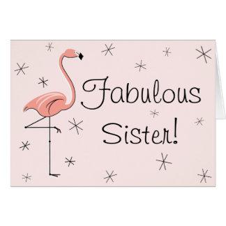 ¡Hermana fabulosa rosada del flamenco! tarjeta de