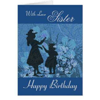 Hermana/feliz cumpleaños - siluetas del jardín tarjeta de felicitación