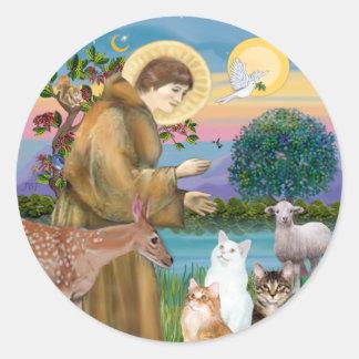 Hermana Frances que bendice 5 gatos Pegatina Redonda
