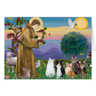 Hermana Frances que bendice 5 gatos Tarjeta De Felicitación