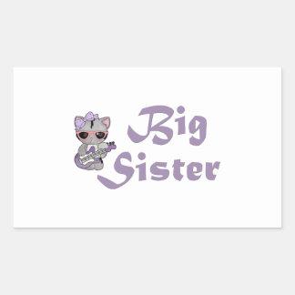 Hermana grande 3 del gatito de la cadera pegatina rectangular