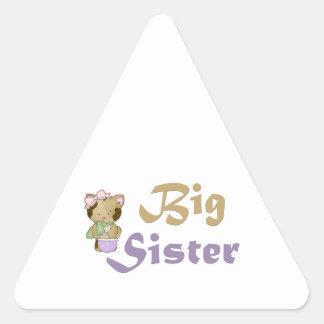 Hermana grande 4 del gatito de la cadera pegatina triangular