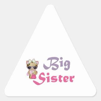 Hermana grande 5 del gatito de la cadera pegatina triangular