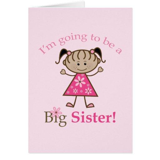 Hermana grande a ser figura chica del palillo étni tarjeta de felicitación