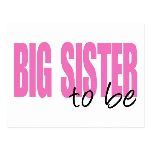 Hermana grande a ser (fuente rosada del bloque) tarjeta postal