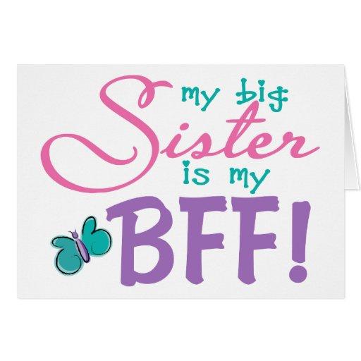 Hermana grande BFF de la mariposa Tarjeta De Felicitación