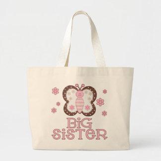 Hermana grande de la mariposa rosada bolsa tela grande