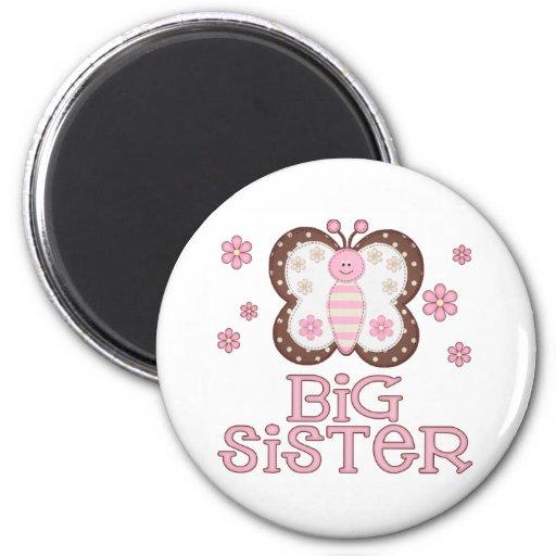 Hermana grande de la mariposa rosada imán para frigorífico