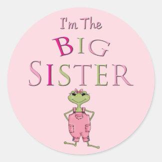 Hermana grande de la rana total rosada pegatinas