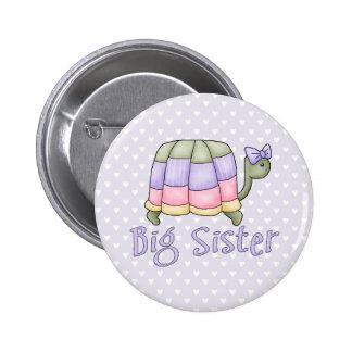 Hermana grande de la tortuga en colores pastel pin redondo 5 cm