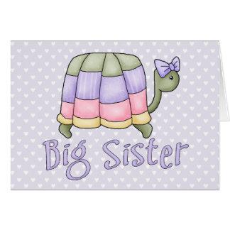 Hermana grande de la tortuga en colores pastel tarjetón