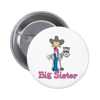 Hermana grande de la vaquera del palillo pin redondo de 2 pulgadas