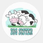 Hermana grande de las vacas lindas etiquetas redondas