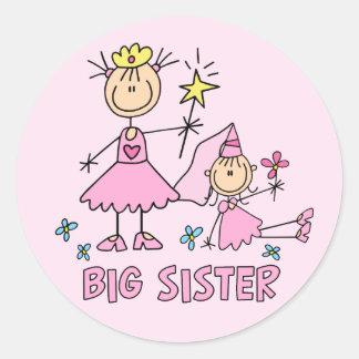 Hermana grande de princesa Duo del palillo Pegatina Redonda