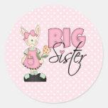 Hermana grande del conejito del país (rosa) pegatina