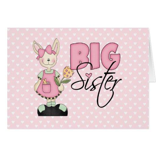 Hermana grande del conejito del país (rosa) felicitaciones