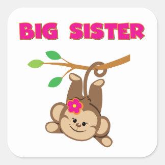 Hermana grande del mono pegatina cuadrada