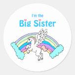 hermana grande del unicornio pegatina redonda