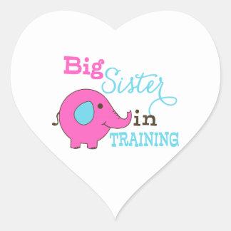 Hermana grande en elefante del entrenamiento etiquetas