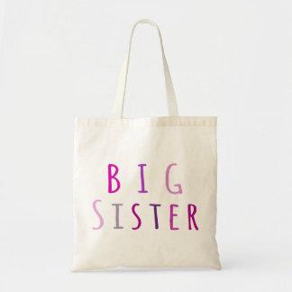 Hermana grande en rosa bolsa lienzo
