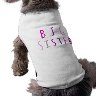 Hermana grande en rosa ropa de perro