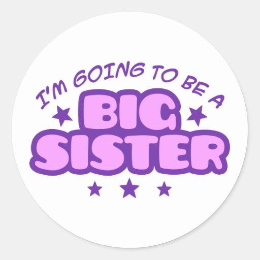 Hermana grande etiqueta redonda