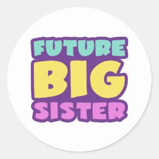 Hermana grande futura pegatina redonda