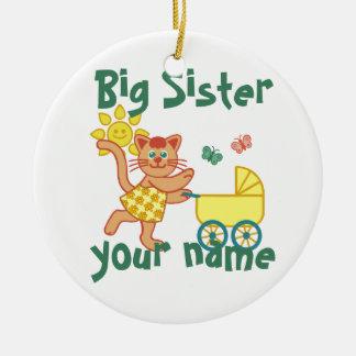 Hermana grande orgullosa adorno navideño redondo de cerámica